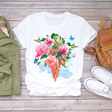 Women Summer Short Sleeve Elephant Floral Flower Cute Lady Tshirts Top T Shirt Ladies Women Graphic Female T-Shirt Plus Size Tee