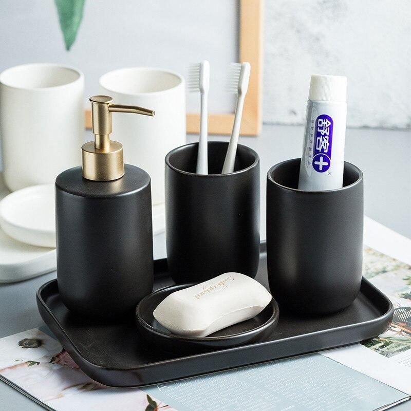 Salle de bain ensemble de lavage Simple en céramique distributeur de savon pour les mains bain de bouche tasse porte-savon maison bain lavage accessoire costume noir blanc