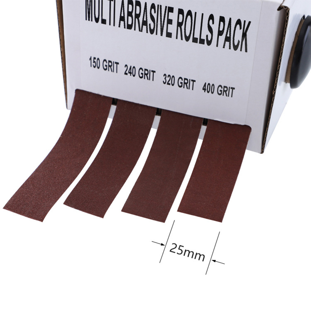 Abrasive Paper 4pc Sandpaper Variety Pack with Dispenser Drawable Emery Cloth Roll Metal Glass Carpentry Sanding Paper
