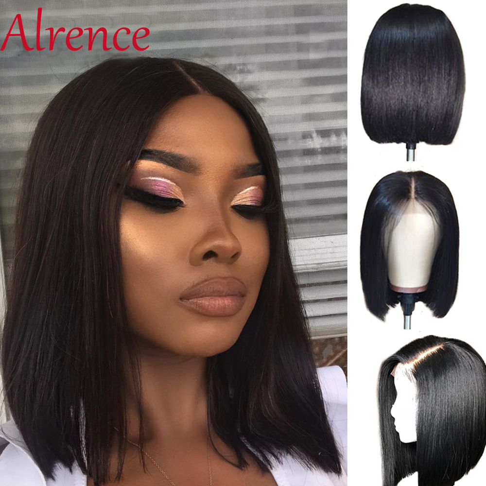 Short Bob Lace Font Wigs natural Lace Front Human Hair Wigs Brazilian Straight Wig Blunt Cut Bob Pre Plucked Wigs For Women