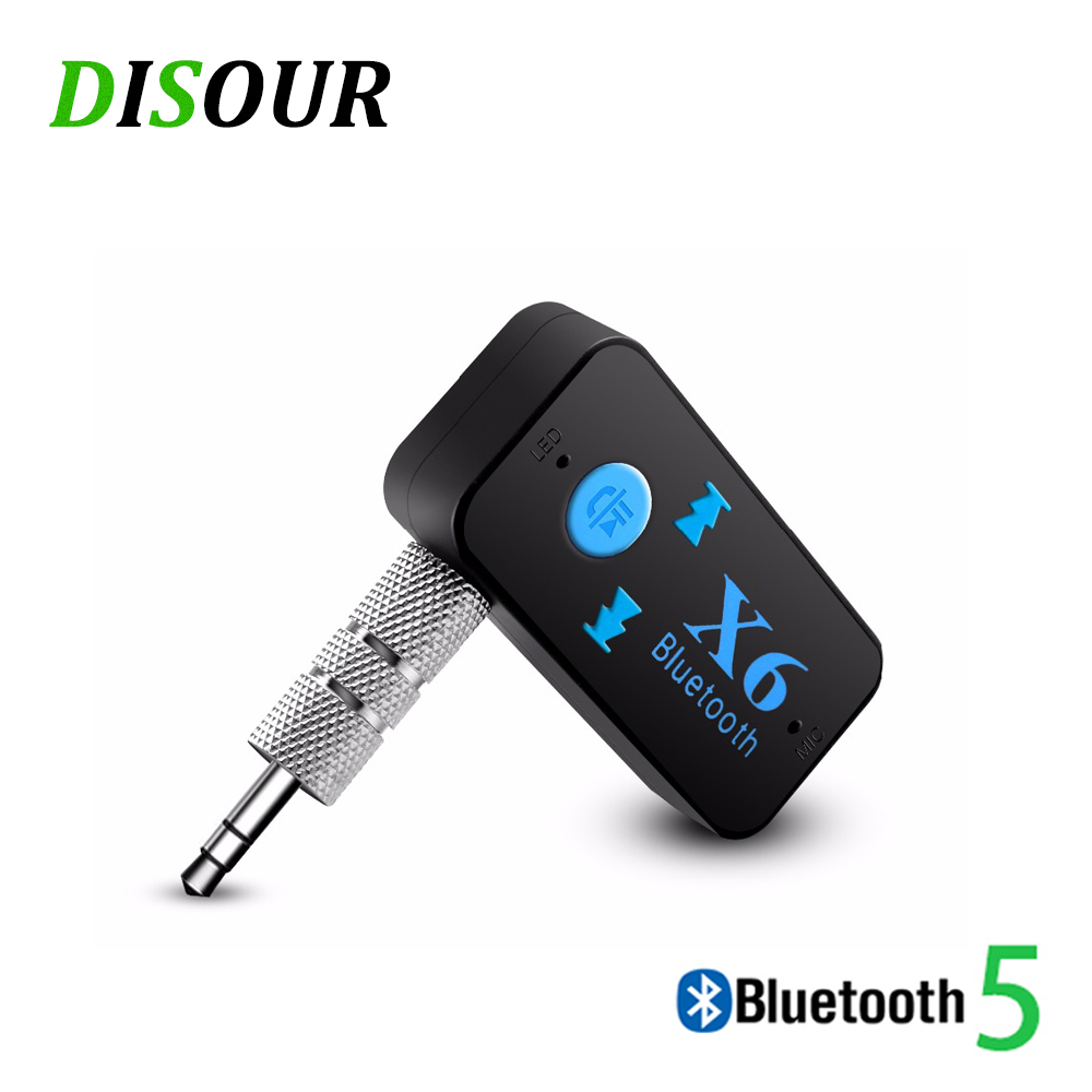 DISOUR X6 5.0 Bluetooth Receiver AUX 3.5MM Car Kit Dongle Stereo Audio With Mic Handfree Wireless Adapter Support TF Card Play