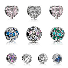 Original 925 Sterling Silver Beads Charm Surround Crystal Diy Round Bead For Women Diy Pandora Charm Bracelet Necklace original 925 sterling silver beads charm blue crystal 925 heart snowflake bead for women diy pandora charm bracelet necklace