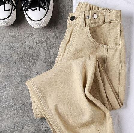 Ligentleman Black Boyfriends Jeans For Women Loose Harem Jeans Denim Pants Trousers Summer
