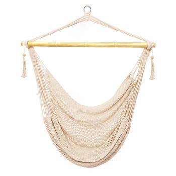 Corde suspendue maille hamac chaise balançoire coton corde maya hamac chaise chaise suspendue balançoire siège pour extérieur intérieur ours 300lbs