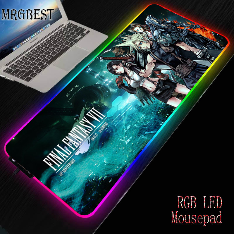 MRGBEST Final Fantasy Large L USB Wired RGB Dimmable Mouse Pad LED Game MousePad Gamer Desktop Keyboard Mat Pc Computer Laptop image