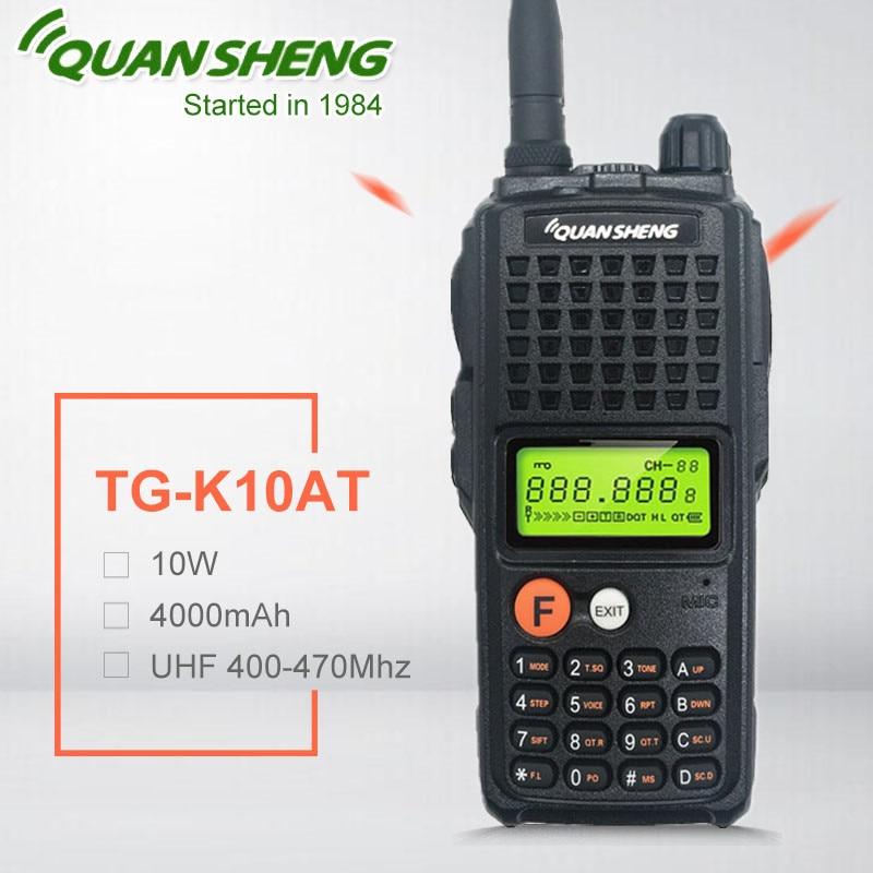 10W QuanSheng TG-K10AT 10 watts station de radio talkie-walkie comunicador UHF 400-470MHz Radio bidirectionnelle Amador 4000mAh HF émetteur-récepteur