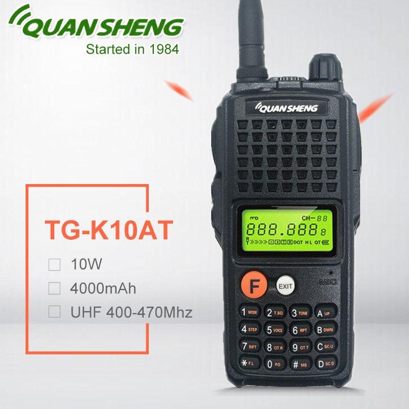 10W QuanSheng TG-K10AT 10Watt Walkie Talkie Radio Station Comunicador UHF 400-470MHz Two-way Radio Amador 4000mAh HF Transceiver