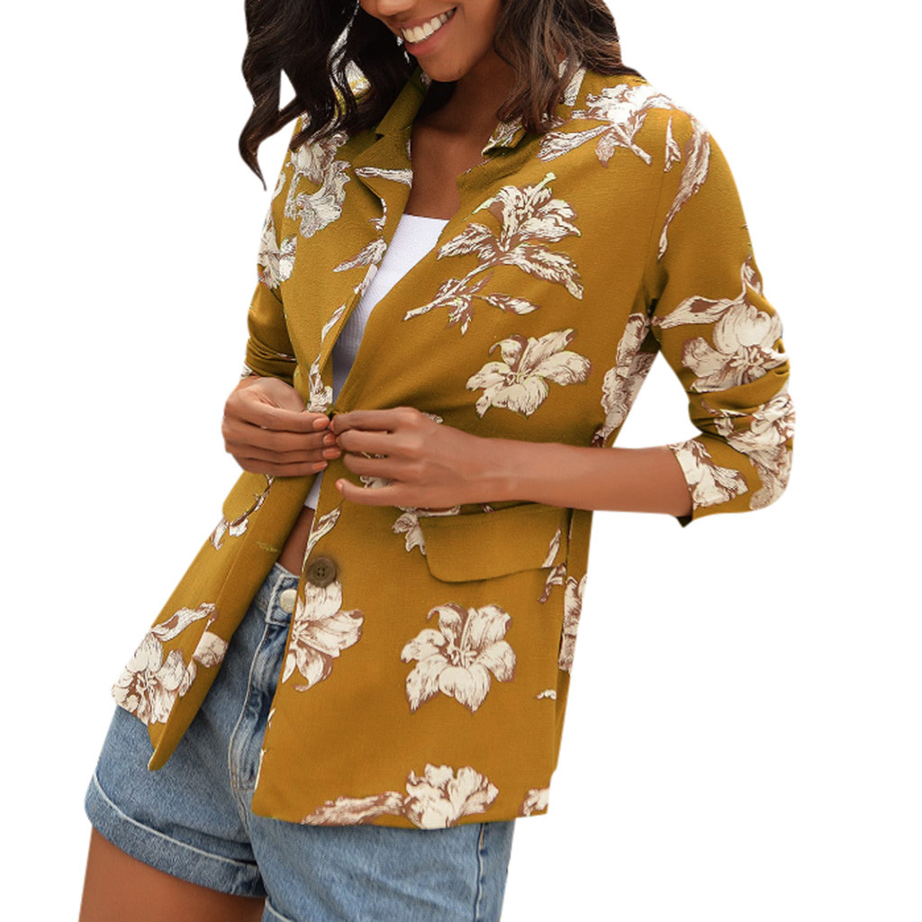 Jacket  Women Print Floral Coat Ladies Slim fit Long Sleeve Top Jacket Blouse Office Wear Cardigan Coat casaco feminino abrigos