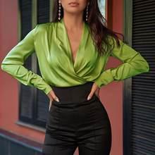 Celmia blusas femininas cetim camisa 2021 primavera manga longa sexy decote em v slik topos casual sólido elegante senhoras blusas femininas 5xl