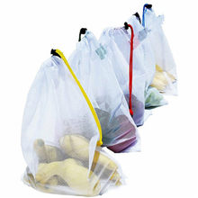 5 Pcs/Set Food Grade Safety and Environmental Protection Reusable Bags Black Rope Mesh Storage Vegetable & Fruit & Grocery Bags(China)