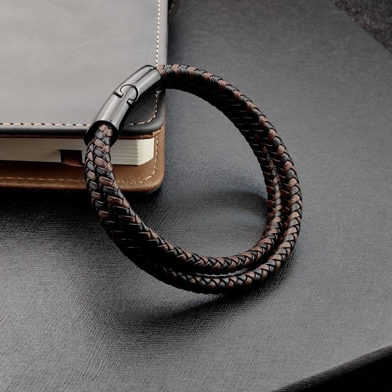 Bracelet en titane et acier, Double couche, marron et noir, corde tressée, de haute qualité, en acier inoxydable, magnétique, idée cadeau pour femmes 3