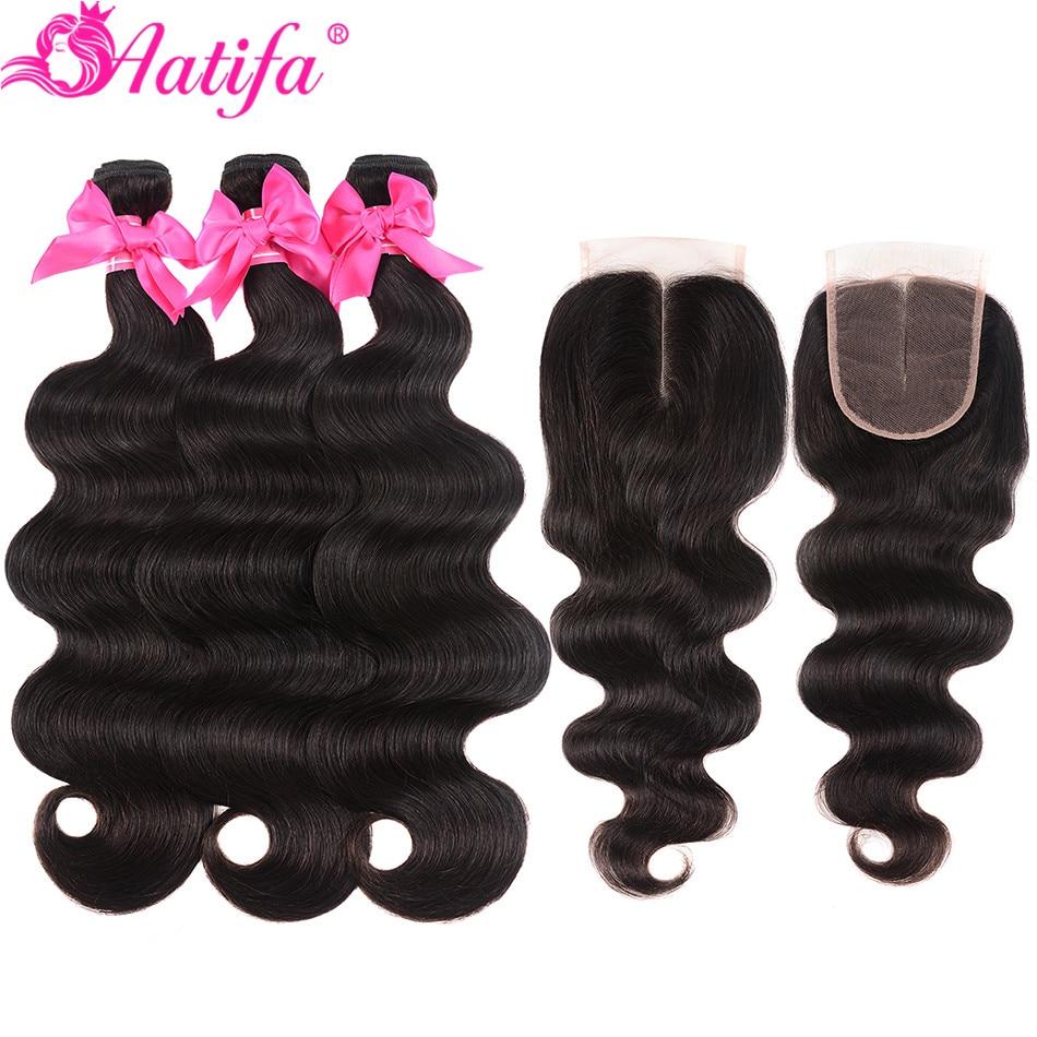 Aatifa Brazilian Hair Weave Bundles With Closure Body Wave Human Hair Bundles With Closure Remy 2