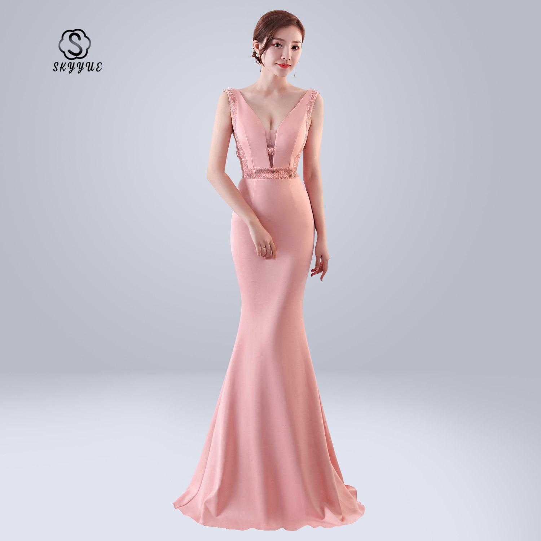 Skyyue Sexy Double Deep V-neck Formal Gowns Women Party Dresses Soild Sleeveless Elegant Evening Dress Robe De Soiree 2019 C151