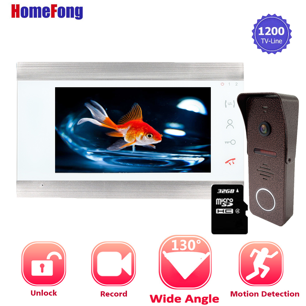 【Upgraded】Homefong 7 Inch Video Door Phone Doorbell Intercom System Wired Ringtone From SD Card Record Unlock Built In Motion