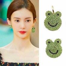 Drôle belle brillant plein vert strass grenouille goutte boucle d'oreille pour les femmes filles mignon asymétrie Animal mode bijoux cadeaux doux