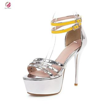 Original Intention Black Yellow Silver Sandals Woman HIgh Platform Thin High Heels Super Sexy Lady Summer Shoes Plus Size 3-16