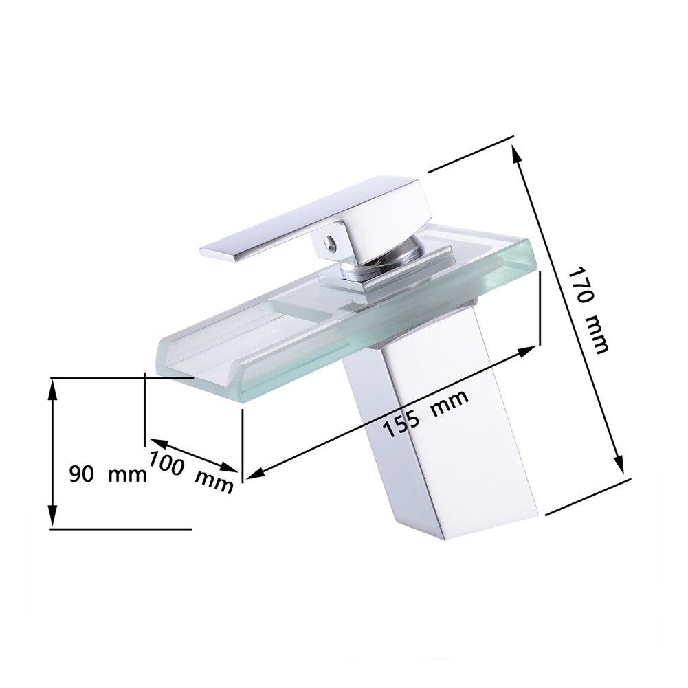 LED robinet de lavabo en laiton cascade température couleurs changement salle de bain mélangeur robinet pont monté lavabo robinets en verre - 5