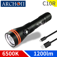 ARCHON C10R Diving Flashlight USB Charging Dive Torch 1200 lumen CREE LED chip Underwater Light 100m Diving Light Built in 18650