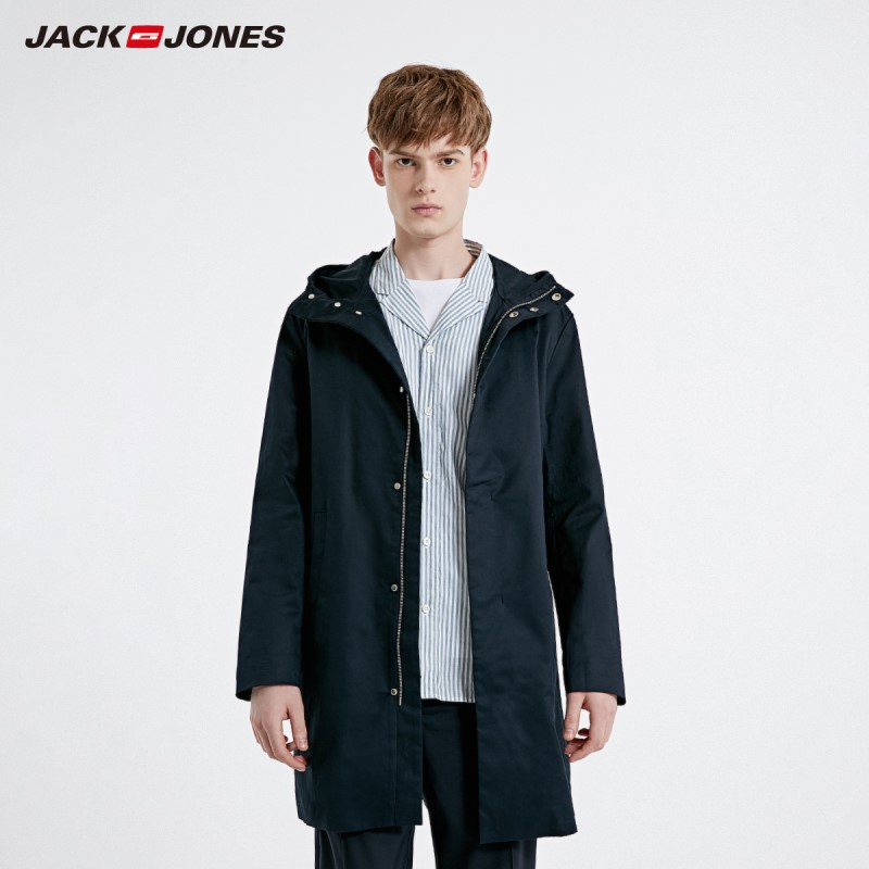 JackJones Men's Mid-length Trench Coat Basic Long Jacket| 219121502