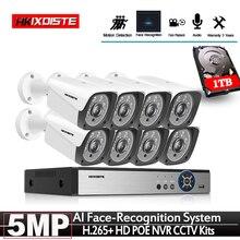 Câmera de segurança para uso doméstico, mais nova câmera de 2020 graus h.265 + 8ch poe nvr kit 5mp poe, para uso externo, sistema cctv conjunto de vigilância por vídeo