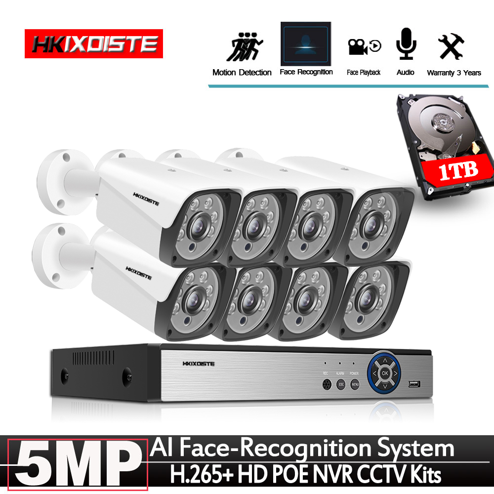 Newest In 2020 Face Record H.265+ 8CH POE NVR Kit 5MP POE Outdoor Camera CCTV Camera System Home Security Video Surveillance Set