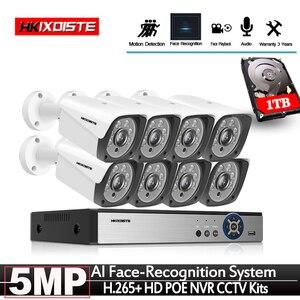 Image 1 - Yeni 2020 yüz kayıt H.265 + 8CH POE NVR kiti 5MP POE açık kamera güvenlik kamerası sistemi ev güvenlik Video gözetleme seti