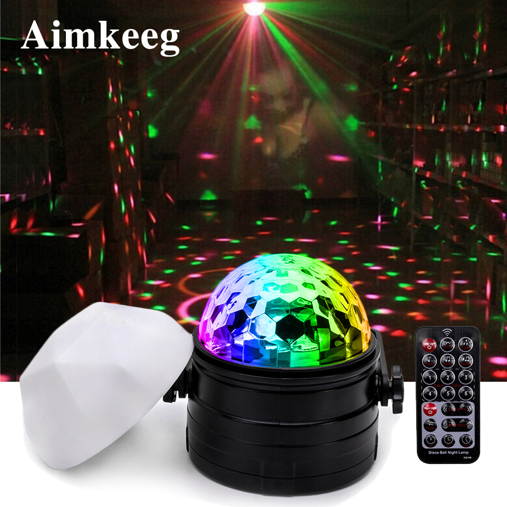 7 Color LED Night Light RGB Stage Light Remote Control Voice Activated Disco Ball Light 6W Party Lights 2 In 1 Decorative Lights