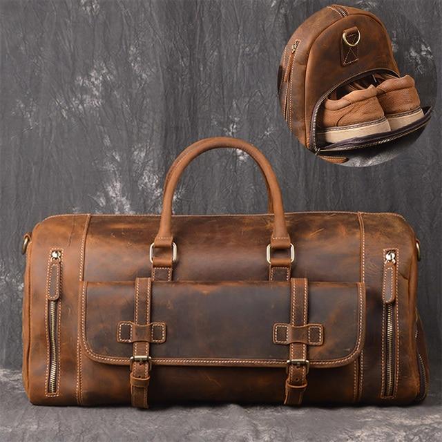 Crazy Horse Genuine Leather Travel Bag Men Vintage Travel Duffel bag big Cow Leather Carry On Luggage Weekend large shoulder Bag 1