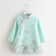 В традиционном китайском стиле Ципао с вышивкой платье Ципао для детей Детская одежда для девочек
