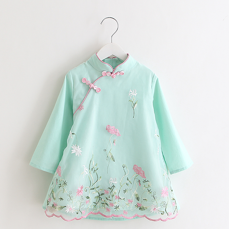 2019 Chinese Style Traditional Qipao Embroidery Cheongsam Dress For Children Girls