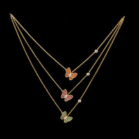 Fashion necklace sweet personality delicate butterfly inlaid natural stone jewel jewelry to send gifts for lovers 2019 new hot