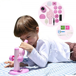 Microscope Kit Lab LED  Home School Science Educational DIY Toy Gift Refined Biological Microscope For Kids Children