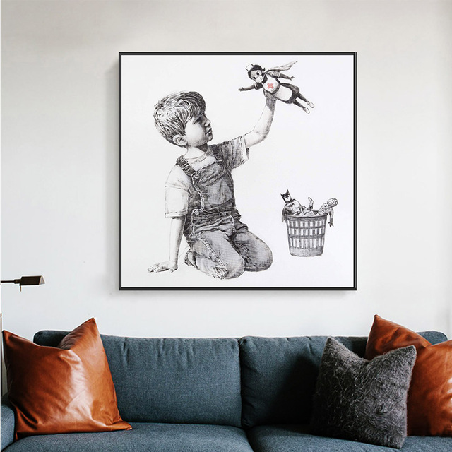 Banksy Shows Nurses As Superheroes Painting Printed on Canvas 2