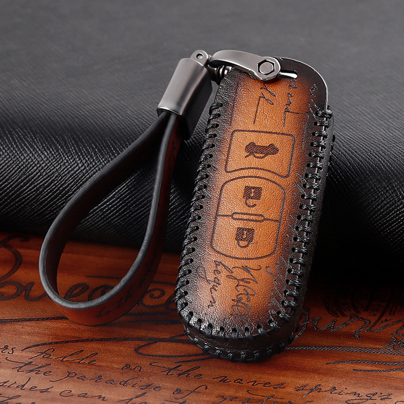 Car Accessories Genuine Leather Car Auto Remote Key Case Cover Holder Skin Shell for Mazda 2 3 5 6 8 CX7 CX5 CX9 MX5 CX4|Key Case for Car|   - title=