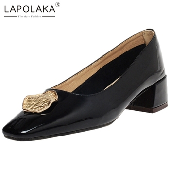 Lapolaka 2020 New Fashion Patent Leather Square Heels Concise Shoes Woman Pumps Metal Decoration Slip-On Office Pumps Women