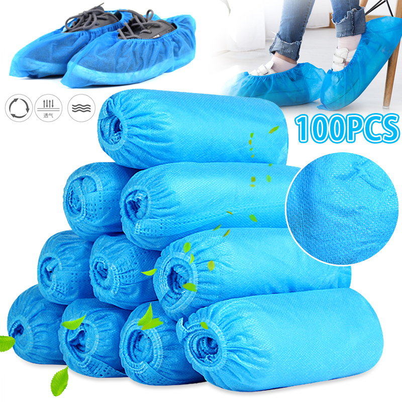100pcs Medical Waterproof Non-woven Boot Cover Disposable Shoe Covers Thicken Overshoes Non-Slip Overshoes Safety Drop Shipping