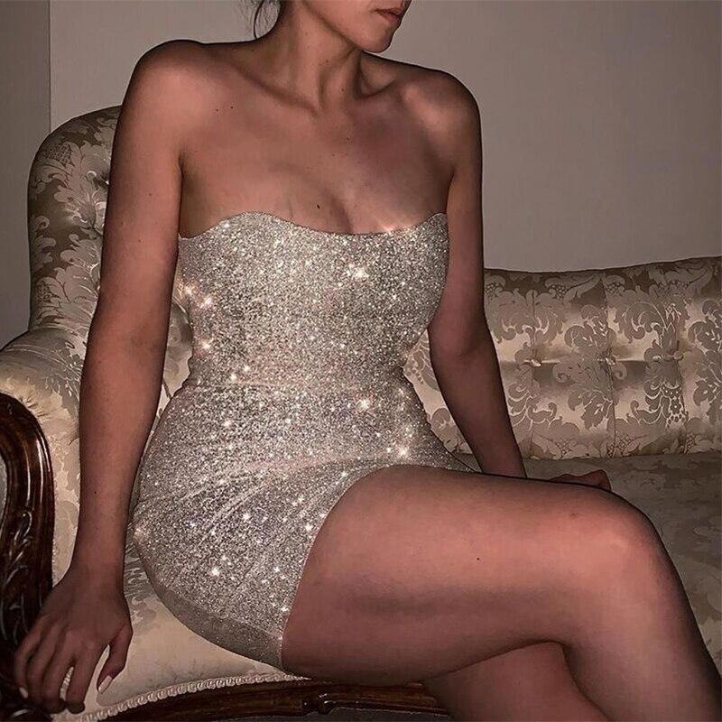 Bkld prata lantejoulas strapless bodycon vestidos de festa feminino elegante sexy voltar com zíper até mini vestido de verão 2020 curto vestido brilhante