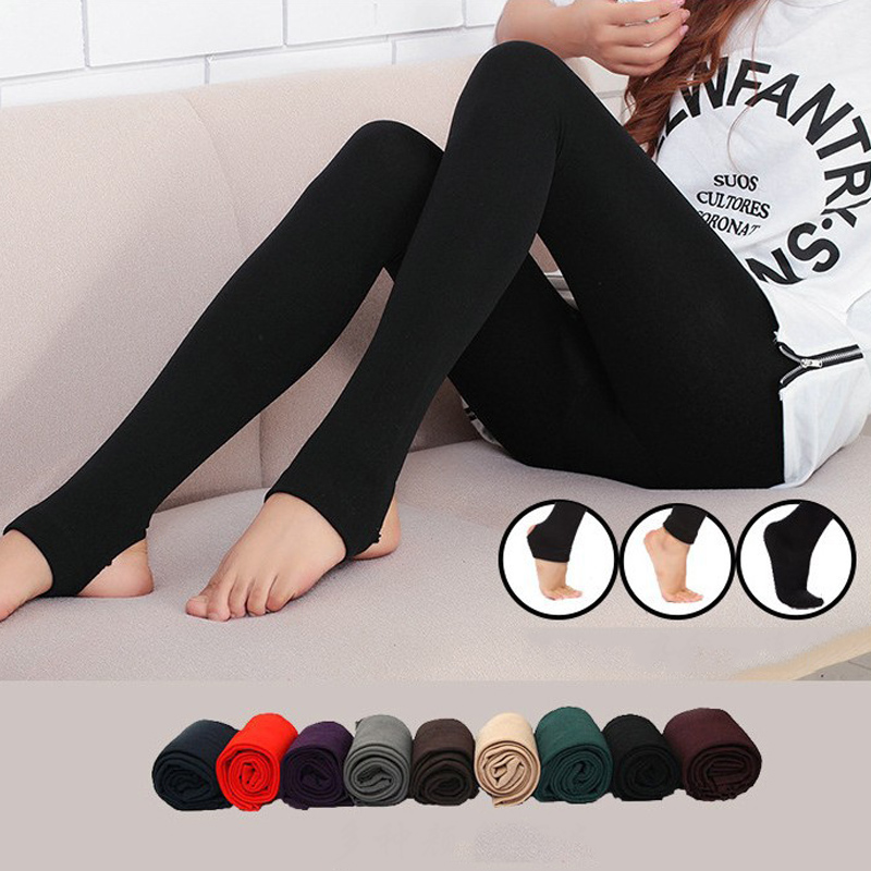 Women Autumn Winter Thick Warm Legging Brushed Lining Stretch Fleece Pants Tramp Feet Leggings  AIC88