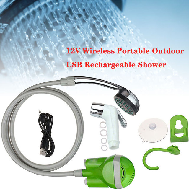 Wireless Portable Outdoor USB Rechargeable Shower Head Water Pump Washer