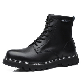 men casual large size cowboy boots genuine leather tooling shoes lace-up platform ankle boot spring autumn high botas sapatos