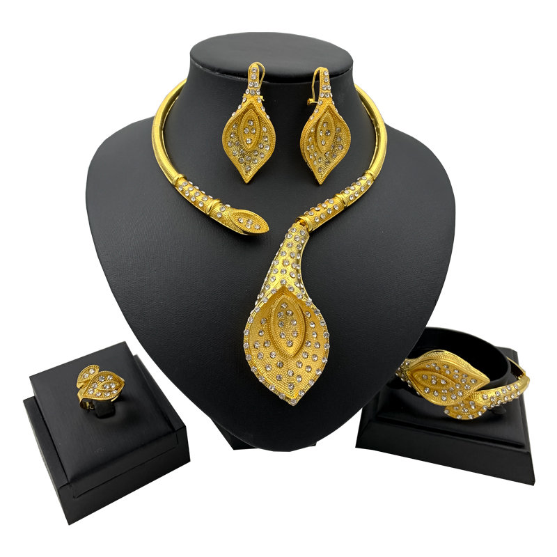 New African Jewelry Sets For Women Y Necklace Bangle Earrings Ring Luxurious Dubai Gold Jewellery Set
