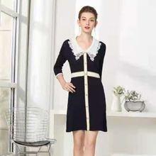 Женское трикотажное платье свитер черно белое Повседневное с