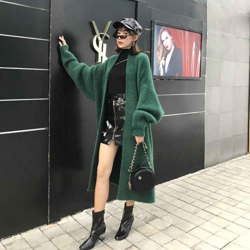 Kore Sahte Vizon Kürk Ceket Kazak Sonbahar Kış Yeni Kalın Kadife Elbise Kadınlar Büyük Boy Gevşek Uzun örgü hırka Ceket f1507