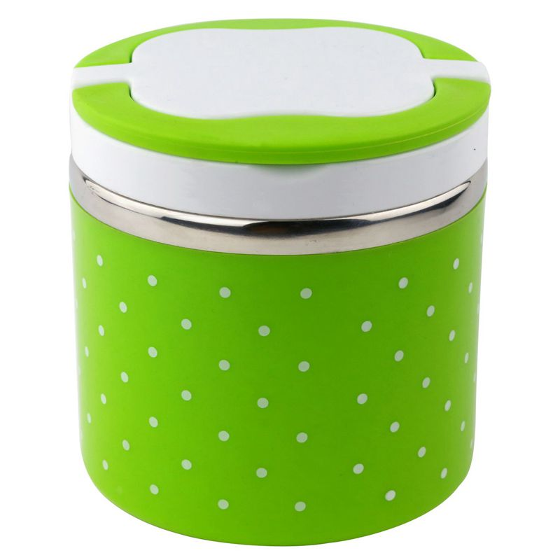 Fashion1Layers Thermal Bento Lunch Box Thermos For Food Stainless Steel Insulation Storage food Container Dinnerware Sets Green
