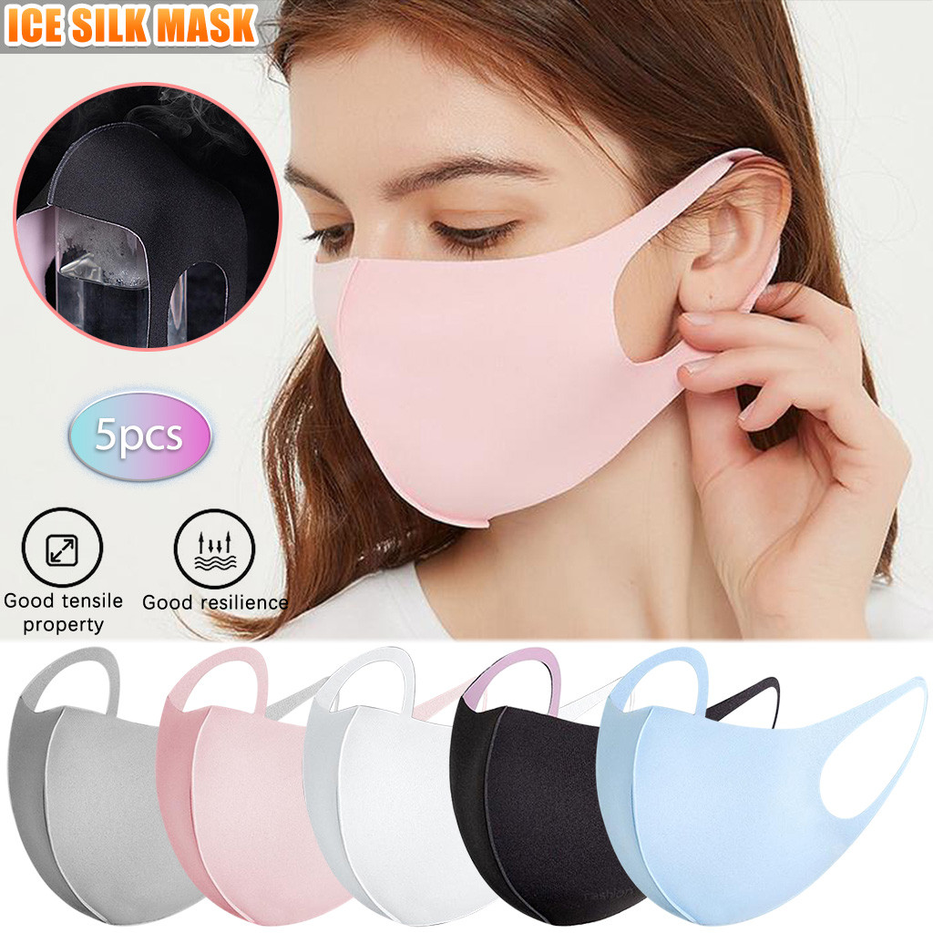 Fast Shipping Breathable And  Summer Ice Silk Cotton Masks Can Be Washed 5PC Mascarilla reutilizable Solid cover mouth Bandage 1