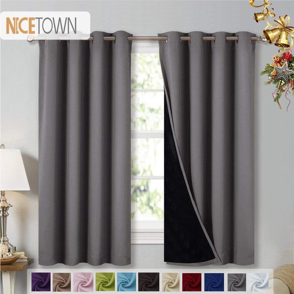 Nicetown 1 pc dupla camada completa cortinas blackout super grosso isolado cortinas blackout completo com forro preto para viver