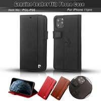Pierre Cardin classique en cuir véritable carte à rabat pour Apple iPhone 11 Pro housse de téléphone 5.8 pouces paquet complet Anti-chute
