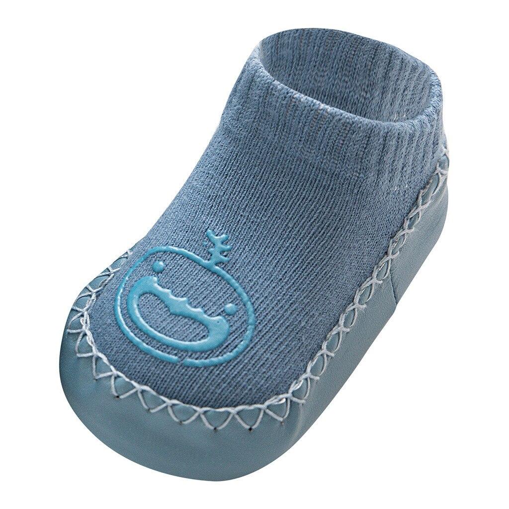 Милые теплые носки-тапочки с героями мультфильмов для новорожденных мальчиков и девочек Нескользящие носки для малышей гетры, детские гольфы, зимние носки для малышей - Цвет: D