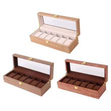 Drewniane pudełko na zegarek Case Organizer Display dla mężczyzn 6 slotów drewniane pudełko z przezroczystym szklanym wieczkiem styl Vintage tanie tanio segolike CN (pochodzenie) Pudełka do zegarków Antique Nowa z metkami Rectangle 3 23inch 4 33inch Drewna 12 4inch Bambus