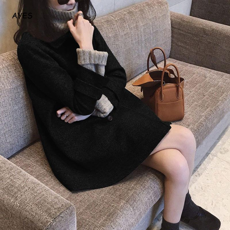 2019 Winter Long Sleeve Black Coat Women Loose Office Suit Coat Korean Style Ladies   Basic     Jacket   Long Streetwear Warm Outwear